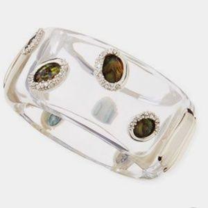 Alexis Bittar clear Lucite & smoky quartz bangle
